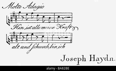 Haydn, Joseph, 31.3.1732 - 31.5.1809, österreichischer Komponist, Visitenkarte für gute Freunde, ca. 1805, - Stockfoto