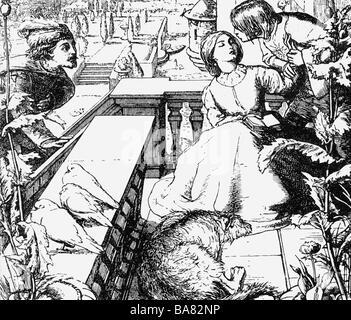"""Tennyson, Alfred, 1st Baron, 6.8. 1809 - 6.10.1892, britische Autorin/Autor, Gedicht, """"Die Day-Dream', Szene, Illustration - Stockfoto"""