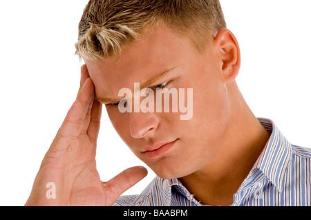 Mann leidet unter Kopfschmerzen - Stockfoto