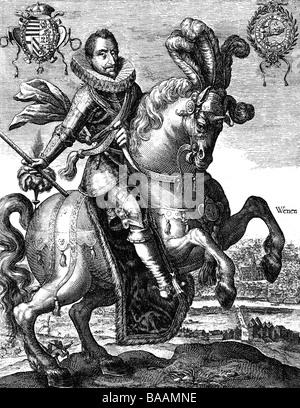 Ferdinand II., 9.9.1578 - 15.2 1637, Kaiser des Heiligen Römischen 29.8.1619 - 09.09.1578, Pferdesport, halbe Länge, - Stockfoto