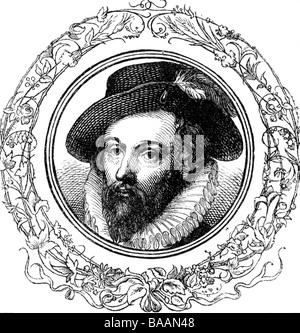 Raleigh, Walter, 1552 - 29. 10.1618, englischer Seefahrer und Autor/Schriftsteller, Porträt, zeitgenössische Gravur, - Stockfoto
