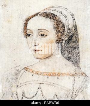 Baune, Anne de, Hofdame der Königin von Frankreich (Catherine di Medici), Porträtzeichnung, gefärbt nach Francois - Stockfoto