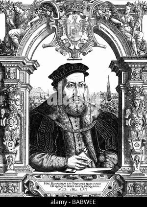 Ferdinand I., 10.3.1503 - 25.7.1564, Kaiser des Heiligen Römischen Reiches 24.3.1556 - 25.7.1564, halbe Länge, Rahmen, - Stockfoto