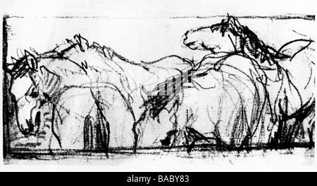 Marc, Franz, 8.2.1880 - 4.3.1916, deutscher Künstler (Maler und Grafiker), in der Gruppe der Pferde, Bleistiftzeichnung, - Stockfoto