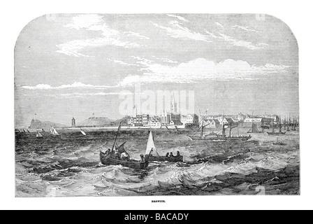 Harwich 1854 Küste Hafen Bucht Dock Boot Schiff Segel Welle Windwellen Dampf Schiff - Stockfoto