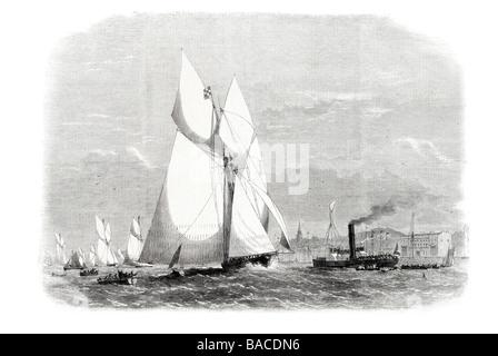 Schoner entsprechen der royal Thames Yacht Club die Gloriana kommen zuerst an Gravesend 1865 besonderes Rennen sechsundvierzig - Stockfoto