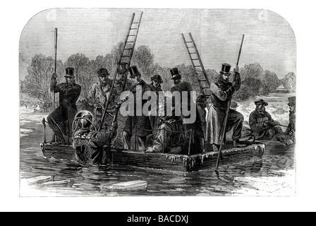 Taucher auf der Suche nach den Toten 1867 Regents Park Eislaufen Katastrophe - Stockfoto