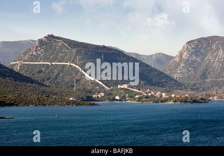 Kroatien Dalmatien Halbinsel Peljesac Wände Mali Ston die Stadt mit der längsten Stadt in Europa - Stockfoto