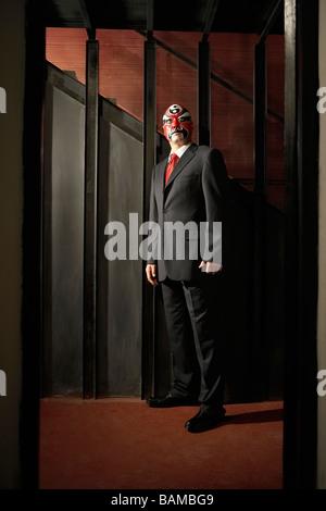 Mann mit Business-Anzug, mit Bemalung - Stockfoto