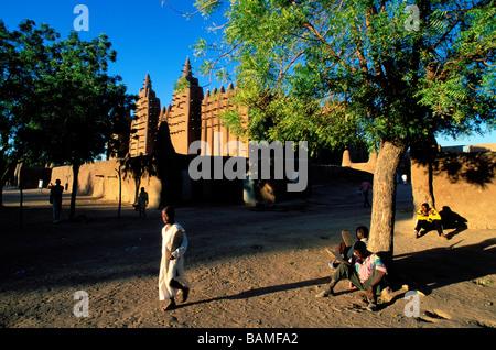 Mali, Mopti Region, Djenné, Altstadt Weltkulturerbe der UNESCO, große Moschee, die größte Moschee gemacht von Clay - Stockfoto