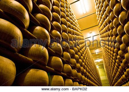 Parmigiano Reggiano Cooperativa Casearia Castelnovese Castelnuovo Rangone Emilia Romagna Italien - Stockfoto