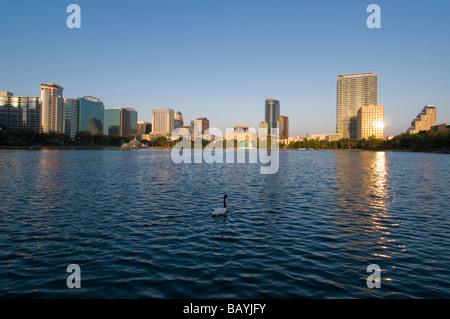 Die Skyline der Innenstadt Orlando Florida spiegelt sich in Lake Eola - Stockfoto