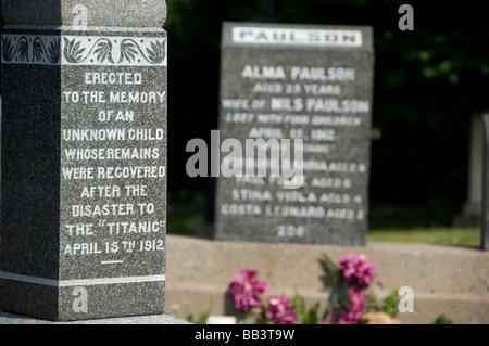 Kanada, Nova Scotia Halifax. Fairview Lawn Friedhof, Titanic Grabstätten. - Stockfoto