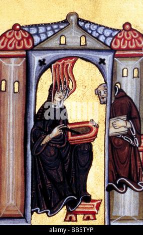 Hildegard von Bingen, ca. 1098 - 19.9.1179, Deutsche Heiliger, Nonne, Mystiker, Sehende, mittelalterliche Miniatur, - Stockfoto