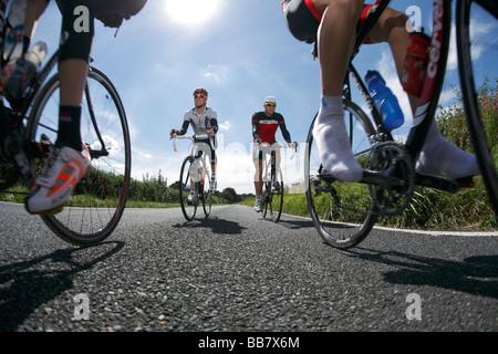 Vier Radfahrer im Hauptfeld auf einer Straße - Stockfoto