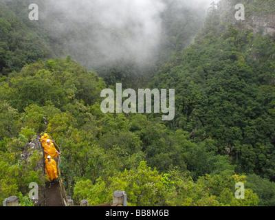 Wanderer tragen wetterfeste Kleidung an den Mirador Espigon Atravesado Punkt, Laurisilva, El Canal y Los Tilos Biosphäre - Stockfoto