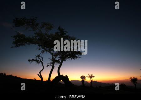 Sonnenuntergang über Jebel Shams in Oman - Stockfoto