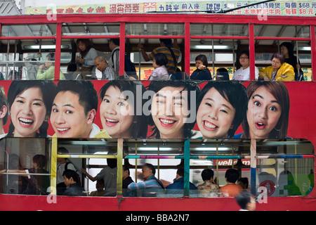 Straßenbahn in Hong Kong Island, Central, Hong Kong, China, Asien - Stockfoto