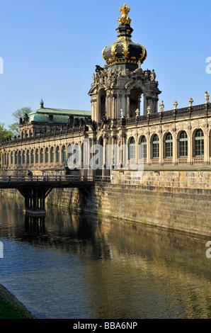Zwinger Palace, Zwingermoat, Crown Gate, Dresden, Freistaat Sachsen, Deutschland, Europa - Stockfoto