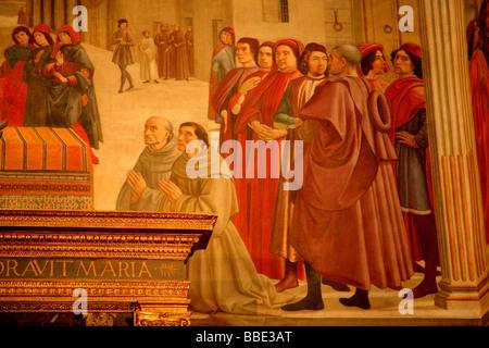 Religiöse Gemälde an der Kirchenmauer; Florenz, Toskana, Italien - Stockfoto