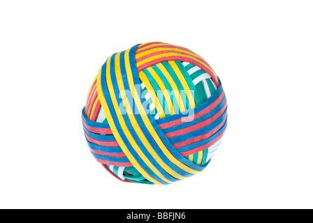 Ein Gummiband-Ball mit gemustert Design für den Einsatz in jedem Büro Versorgung Inferenz - Stockfoto