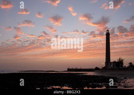 Gran Canaria: Sonnenuntergang von El Faro (Leuchtturm) Maspalomas - Stockfoto