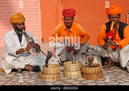 Indischer Schlangenbeschwörer mit Kobras (Naja Naja), der Palast der Winde, Jaipur, Rajasthan, Nordindien, Asien - Stockfoto