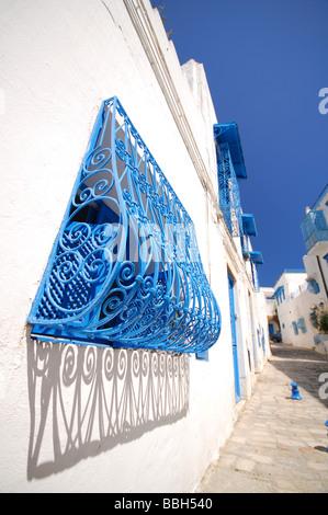 sidi bou said tunesien blick auf kunstvolle gew lbt blaue t r mit einzigartigen motiven in die. Black Bedroom Furniture Sets. Home Design Ideas