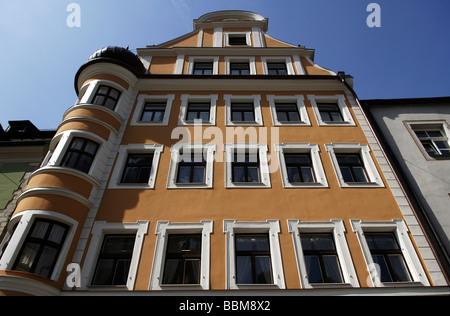 Altes Stadthaus mit einem Erker, Regensburg, Bayern, Deutschland, Europa - Stockfoto