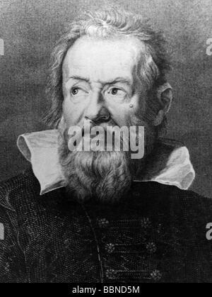 Galilei, Galileo, 15.2.1564 - 8.1.1642, Italienische Wissenschaftler (Astronom, Physiker, Philosoph), Porträt, nach - Stockfoto