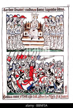 Heinrich VII., ca. 1275 - 24.8.1313, Heiliger römischer Kaiser 29.9.1312 - 24.8.1313, Romreise 1310, - Stockfoto