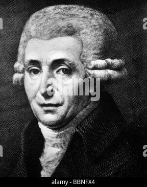 Haydn, Joseph, 31.3.1732 - 31.5.1809, Österreichischer Komponist, Porträt, Kupferstich, 18. Jahrhundert, Artist's - Stockfoto
