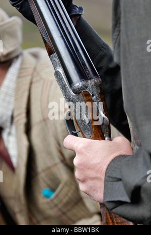 Kanonier hält einen Holland und Holland Schrotflinte während einer angetriebenen Moorschneehühner schießen in den - Stockfoto