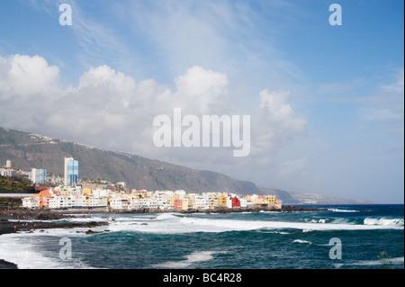 Blick auf Punta Brava von Playa Jardin, Puerto De La Cruz, Teneriffa, Kanarische Inseln - Stockfoto