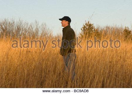 Ein Mann stehend in hohe Gräser, blickt auf eine Nebraska Fasture. - Stockfoto