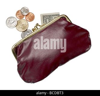 Burgund Leder Geldbörse Geld öffnen Münzen Dollar erhöht, Ansicht - Stockfoto