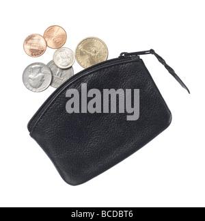 schwarze Leder Handtasche erhöht, Ansicht - Stockfoto