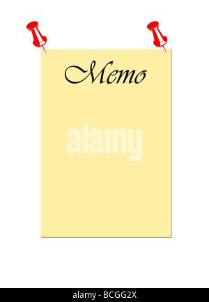 Leer Merkzettel mit Push-Pins isoliert auf weißem Hintergrund fixiert - Stockfoto