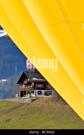 Chateau d Oex International Hot Air Balloon Festival der Schweiz - Stockfoto