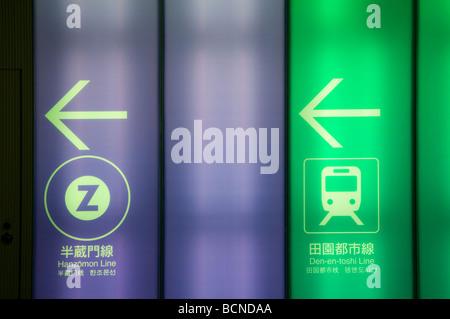 Richtungen zu verschiedenen Plattformen angegeben mit entsprechenden Farbcodes in einer u-Bahn Metro-Station in - Stockfoto