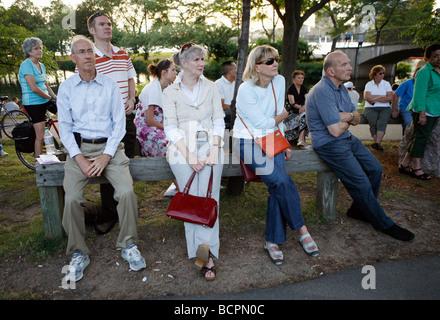 Konzertpublikum auf Hatch Shell an der Esplanade, Boston - Stockfoto