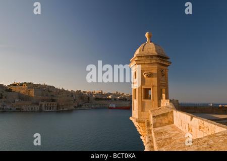 Wachposten Grand Harbour Valletta Malta - Stockfoto