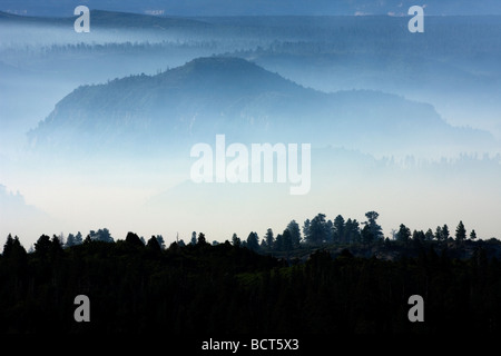 Zion Nationalpark Rauch aus Wald Feuer Utah USA - Stockfoto