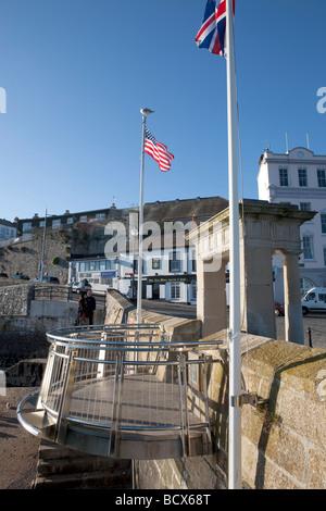 Die Mayflower Schritte. Plymouth Hacke. Die Pilgerväter Barbican, südwestlich, Devon, England, UK - Stockfoto
