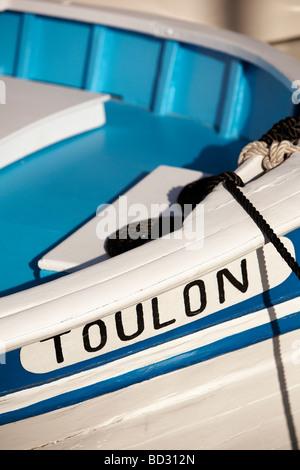 Typenschild auf Boot, Hafen von Toulon, Toulon, Provence - Stockfoto