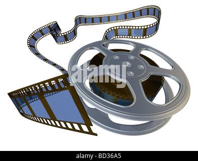3D gerenderten Film Reel Spool aus der Hülle - Stockfoto