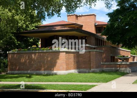 Frederick C. Robie House, Frank Lloyd Wright, Prärie-Stil-Meisterwerk, erbaut 1908-10, Chicago, Illinois, USA. - Stockfoto