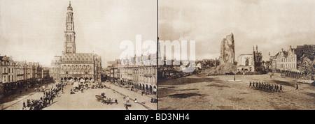 Arras, Frankreich. Das Rathaus in der Petite Ort vor und nach der Schlacht von Arras im ersten Weltkrieg. - Stockfoto