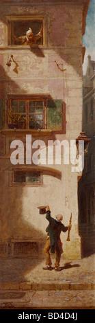 "Bildende Kunst, Spitzweg, Carl (1808 – 1885), Malerei, ""Der Bettelmusikant"" (The betteln Musiker), Öl auf Karton, - Stockfoto"