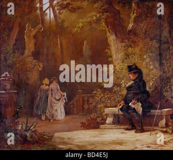 """Bildende Kunst, Spitzweg, Carl (1808 – 1885), Gemälde, """"Der Witwer"""" (der Witwer), 1845, 50 x 43 cm, Haus der Kunst, - Stockfoto"""
